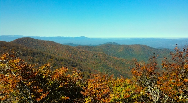 Beautiful Fall Foliage Seen from Mount Mitchell