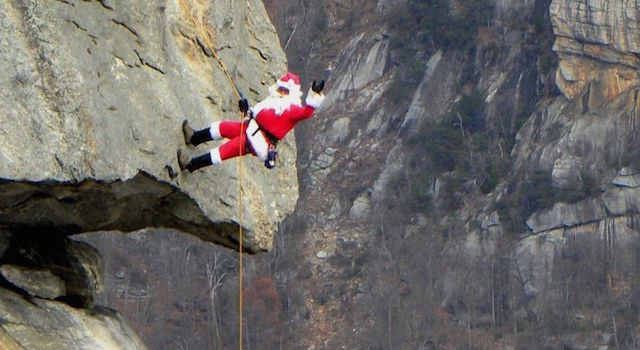 Santa on Chimney Rock