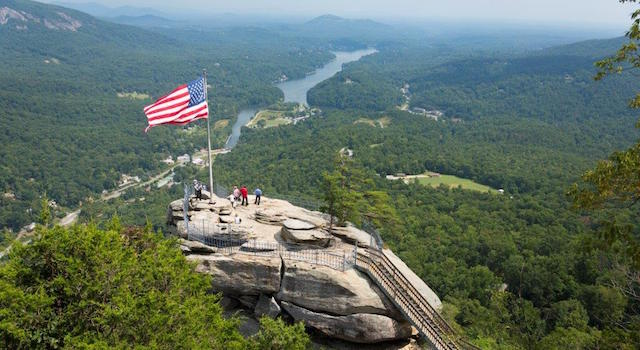 Chimney Rock and Flag