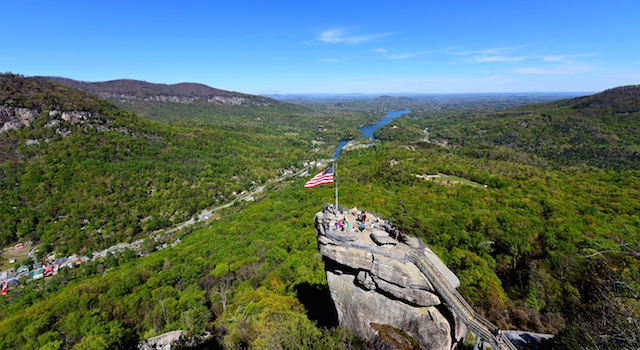 View of the Chimney Rock at chimney Rock State Park