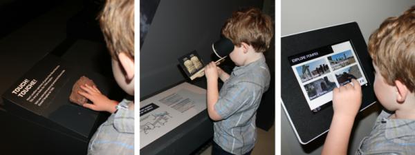 The interactive elements of the Pompeii exhibit.