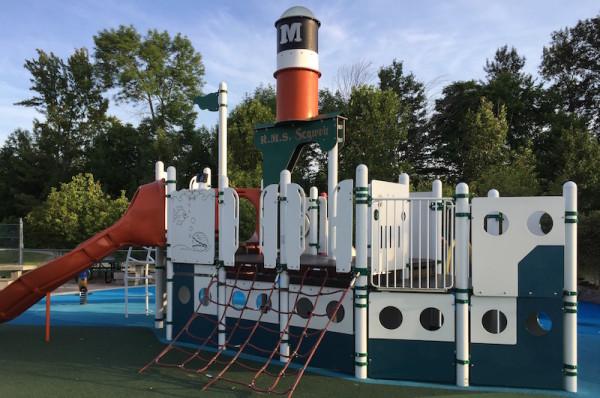 The Steamship Muskoka Wharf playground in Gravenhurst, Ontario