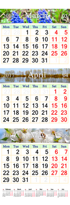 wall calendar for three months of spring March April and May 2017 with pictures of nature