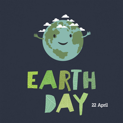 "Earth day, 22 April. ""Save our home"". Cartoon Earth illustration. Ecology concept. Leaf cut letters."