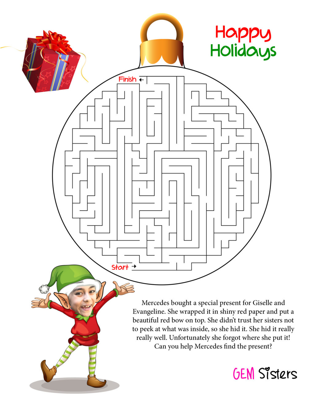 gem sisters printable christmas maze