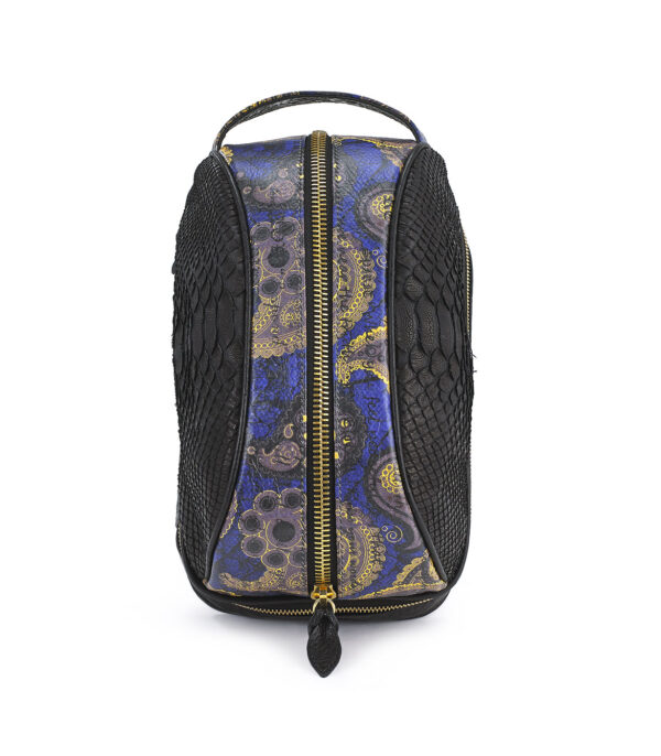 Amenity-Python-Amenity Blue Embossed Suede Paisley Dopp Kit