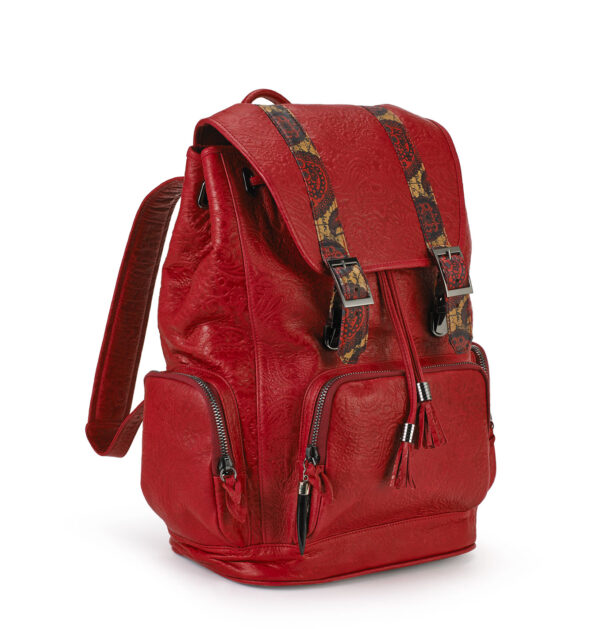 Rebirth Red embossed backpack BACKPACK GOLDEN BROWN  COGNAC PYTHON