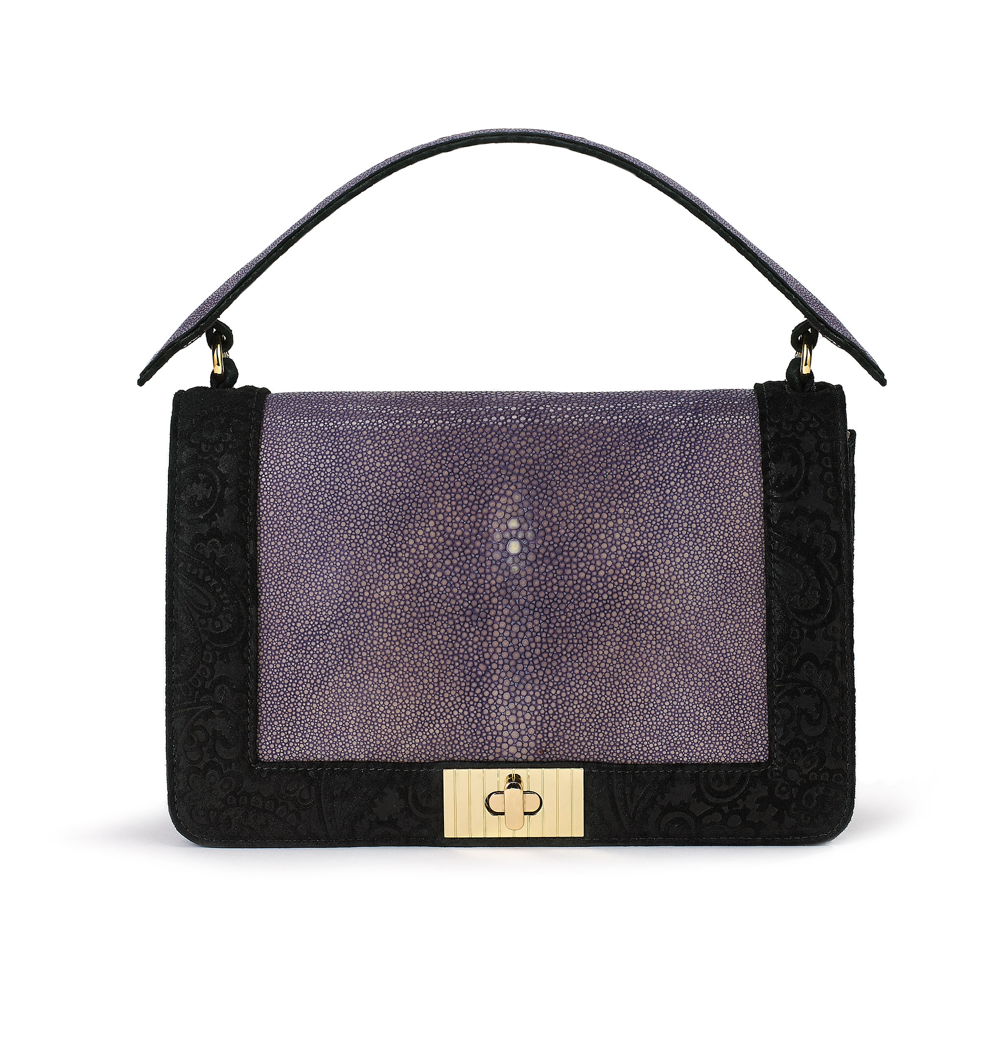 Crossbody Clutch blk Lilac Stingray-1