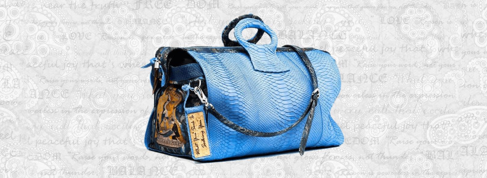 duffel-ganesh-python hand bag blue