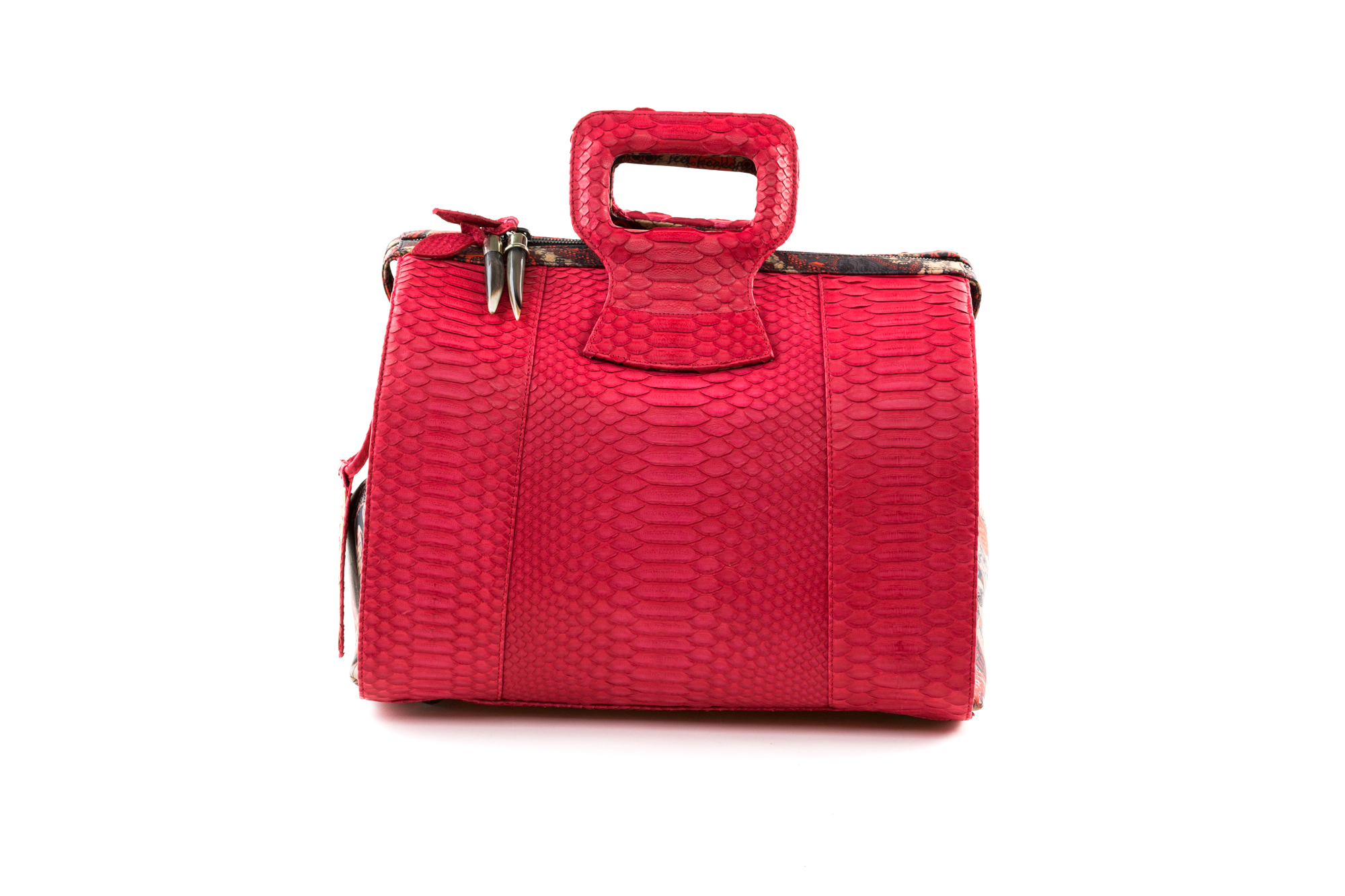 red 15 INCH DUFFEL EMBOSSED  PYTHON