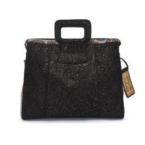 Rebirth Embossed Black Paisley Leather