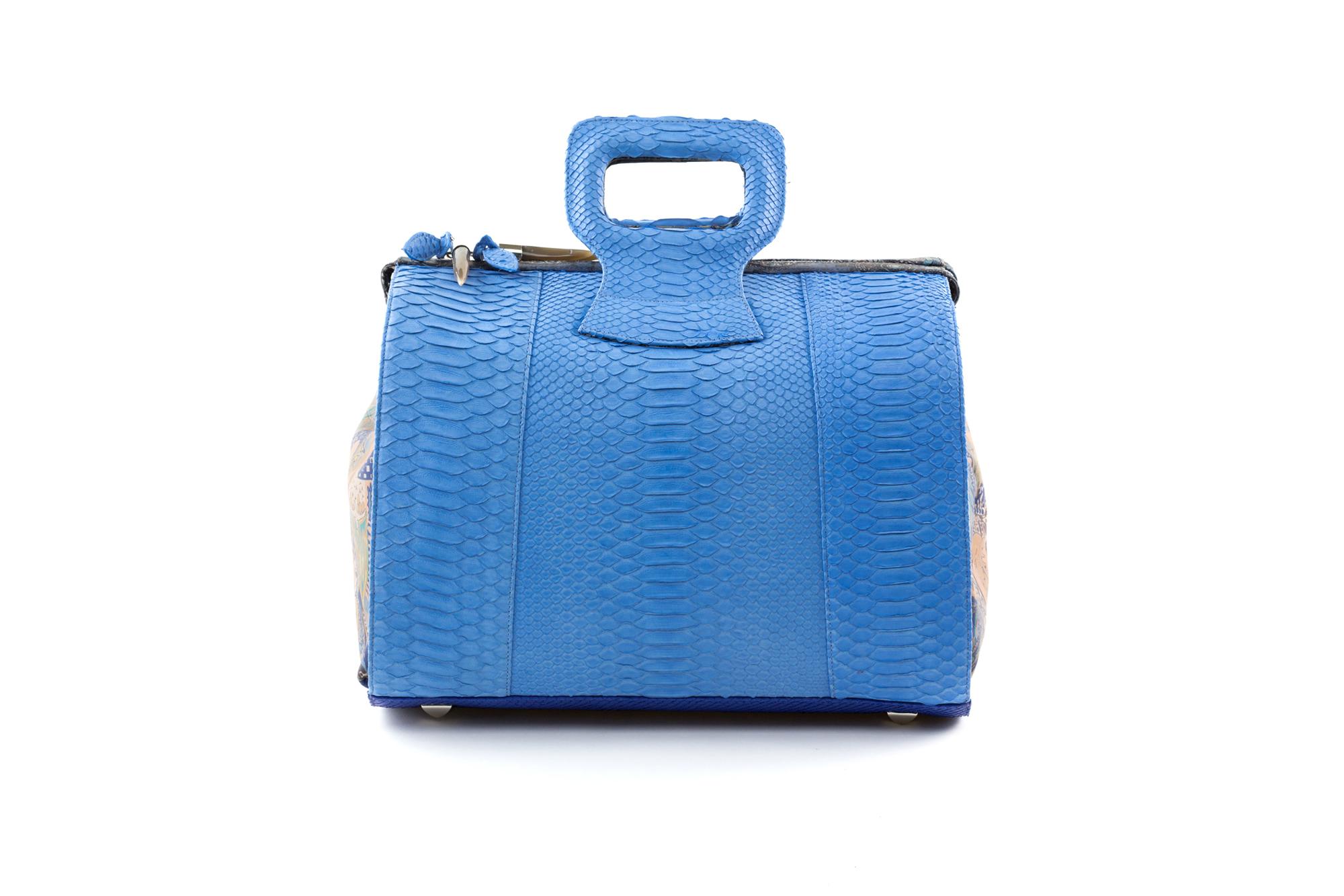 15 inch handbag duffel blue python miracles 2