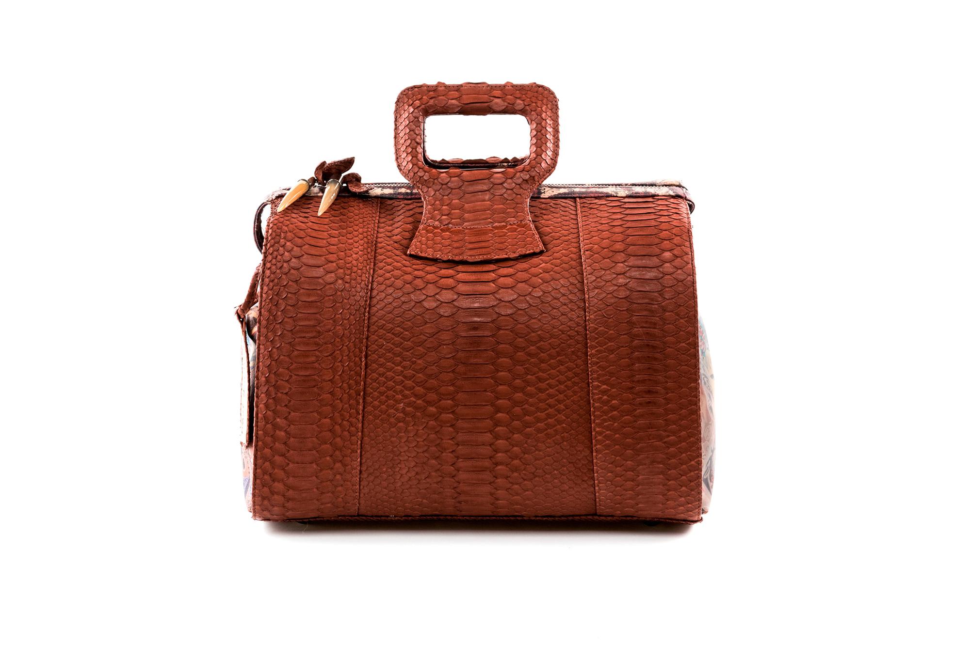 15 inch handbag duffel cognac python Chief of Love 1