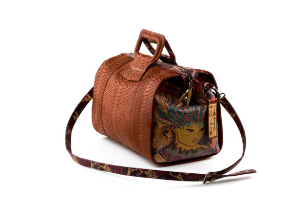 15 inch handbag duffel cognac python Chief of Love 2