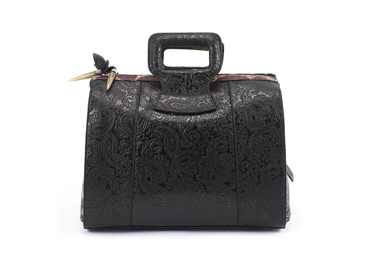 black Serenity  Fingerprint of Soul Tan  Handbag