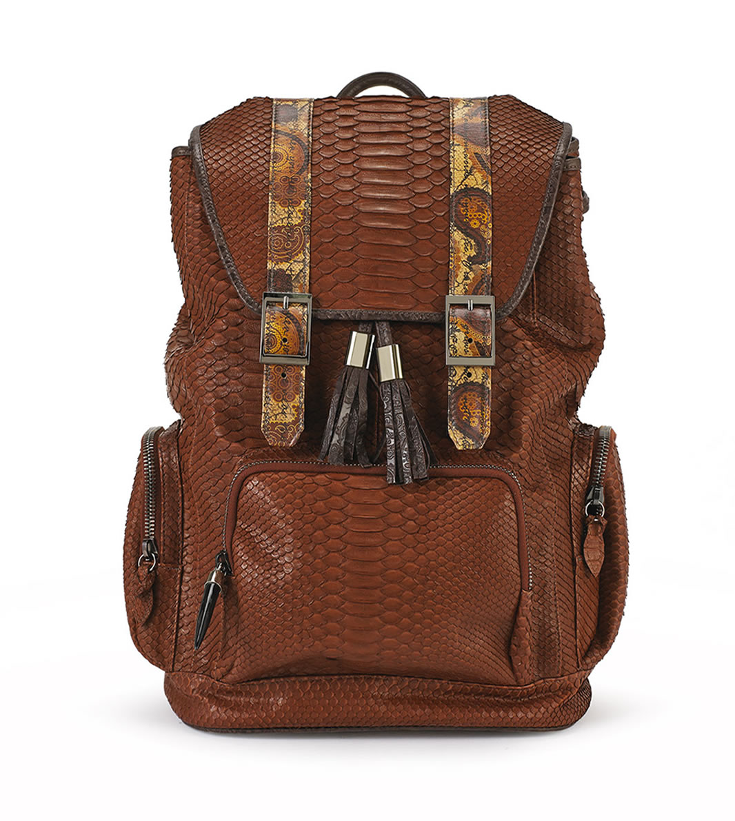 BACKPACK GOLDEN BROWN  COGNAC PYTHON