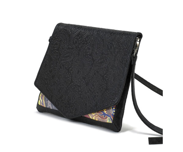 CROSS-BODY BLK EMBOSSED LOTUS CLUTCH 1