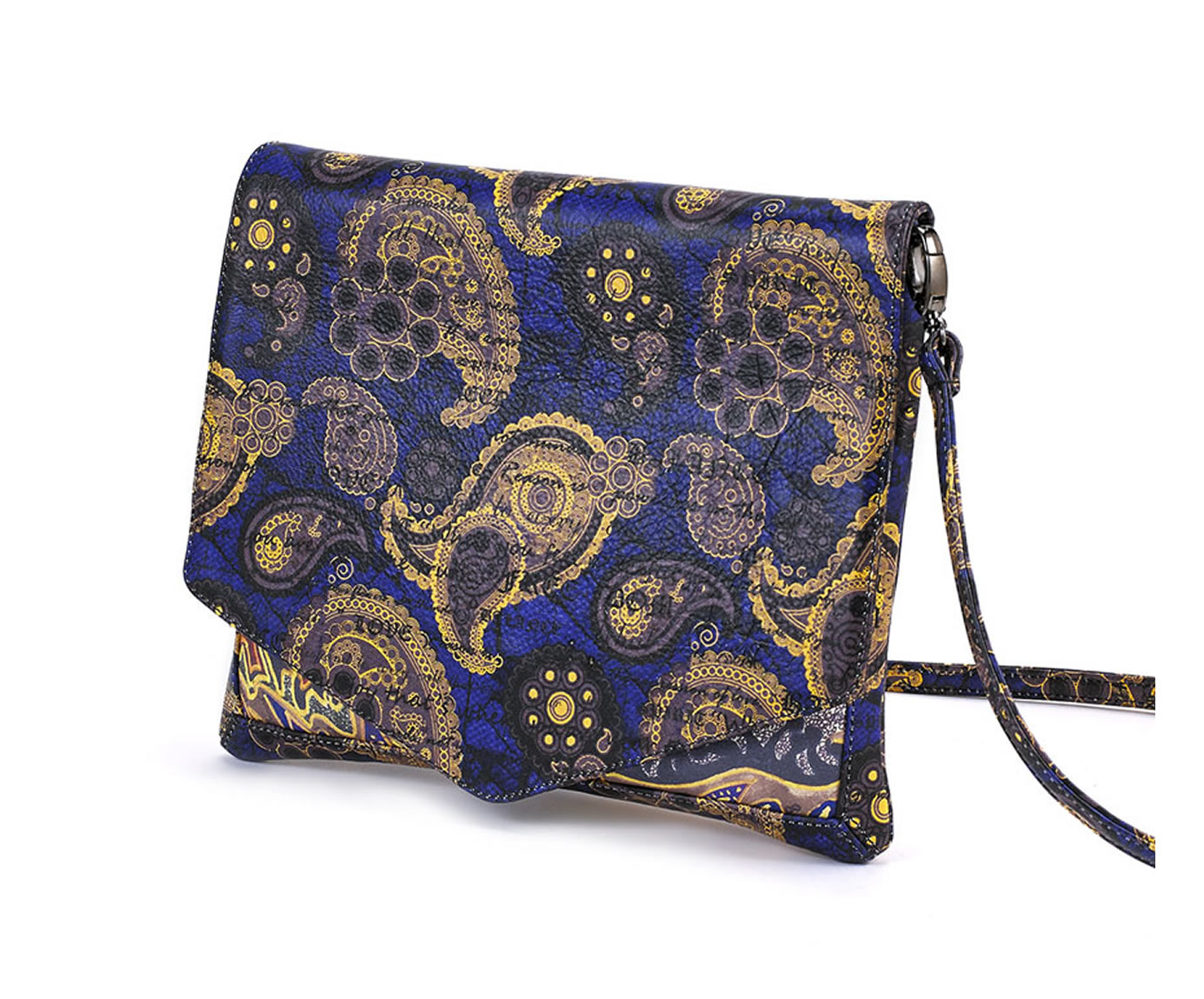 CROSS-BODY BLUE GOLD PAISLEY LOTUS 1