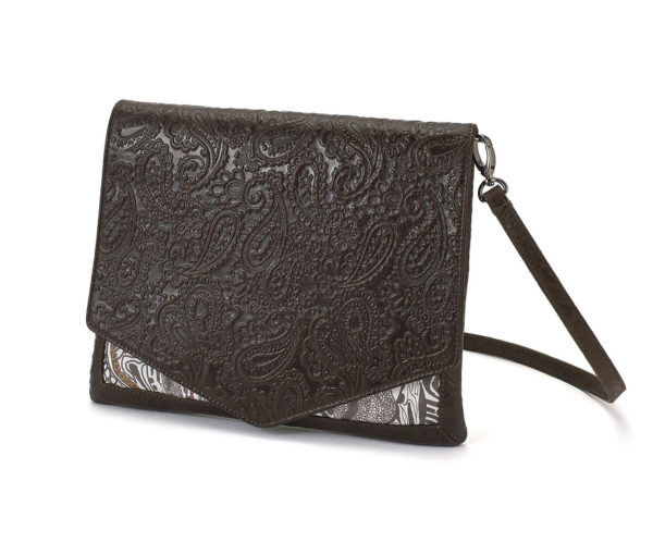 CROSS-BODY EMBOSSED BROWN GANESH 1