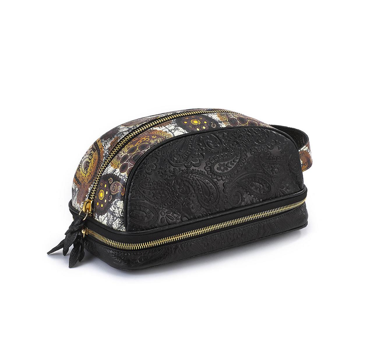 DOPP KIT BLACK EMBOSSED GOLD RUST PAISLEY bag