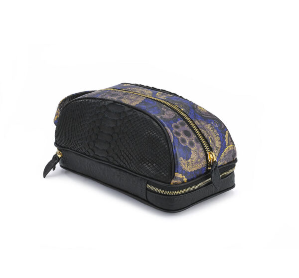DOPP KIT BLK PYTHON BLUE GOLD PAISLEY bag