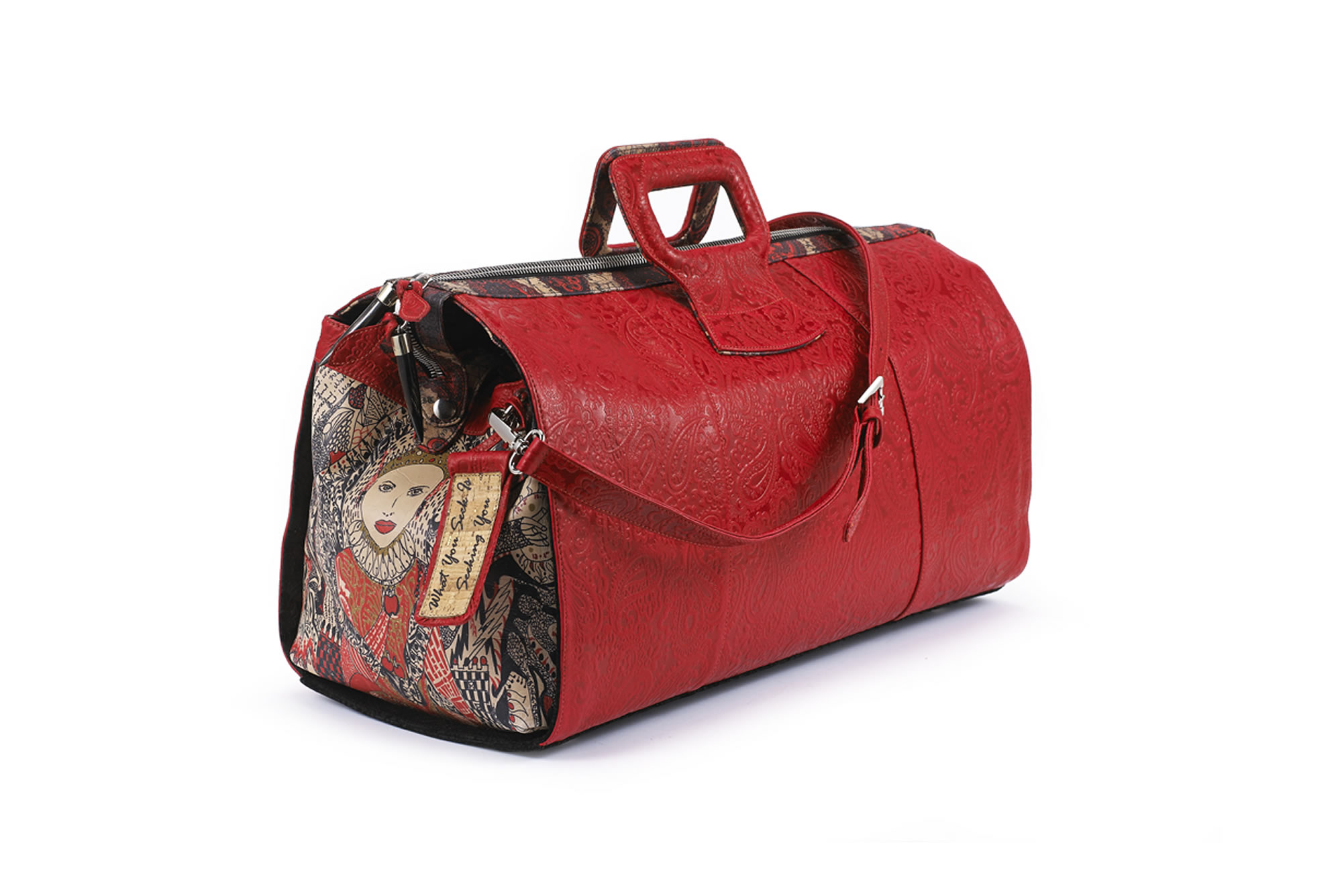 red Fingerprint of Soul Tan Leather duffel hand bag