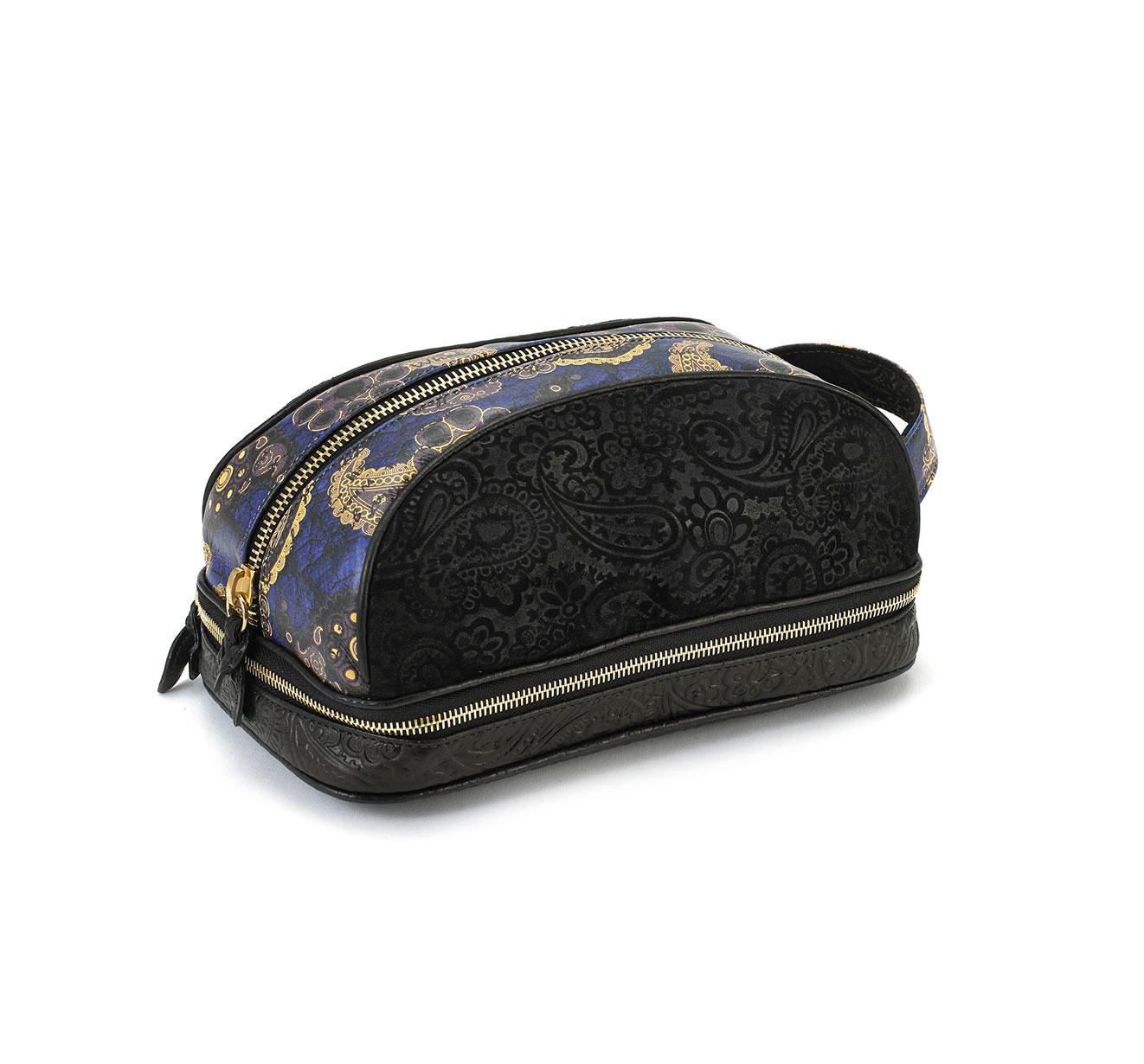 Amenity Black Embossed Suede Blue Paisley Dopp Kit