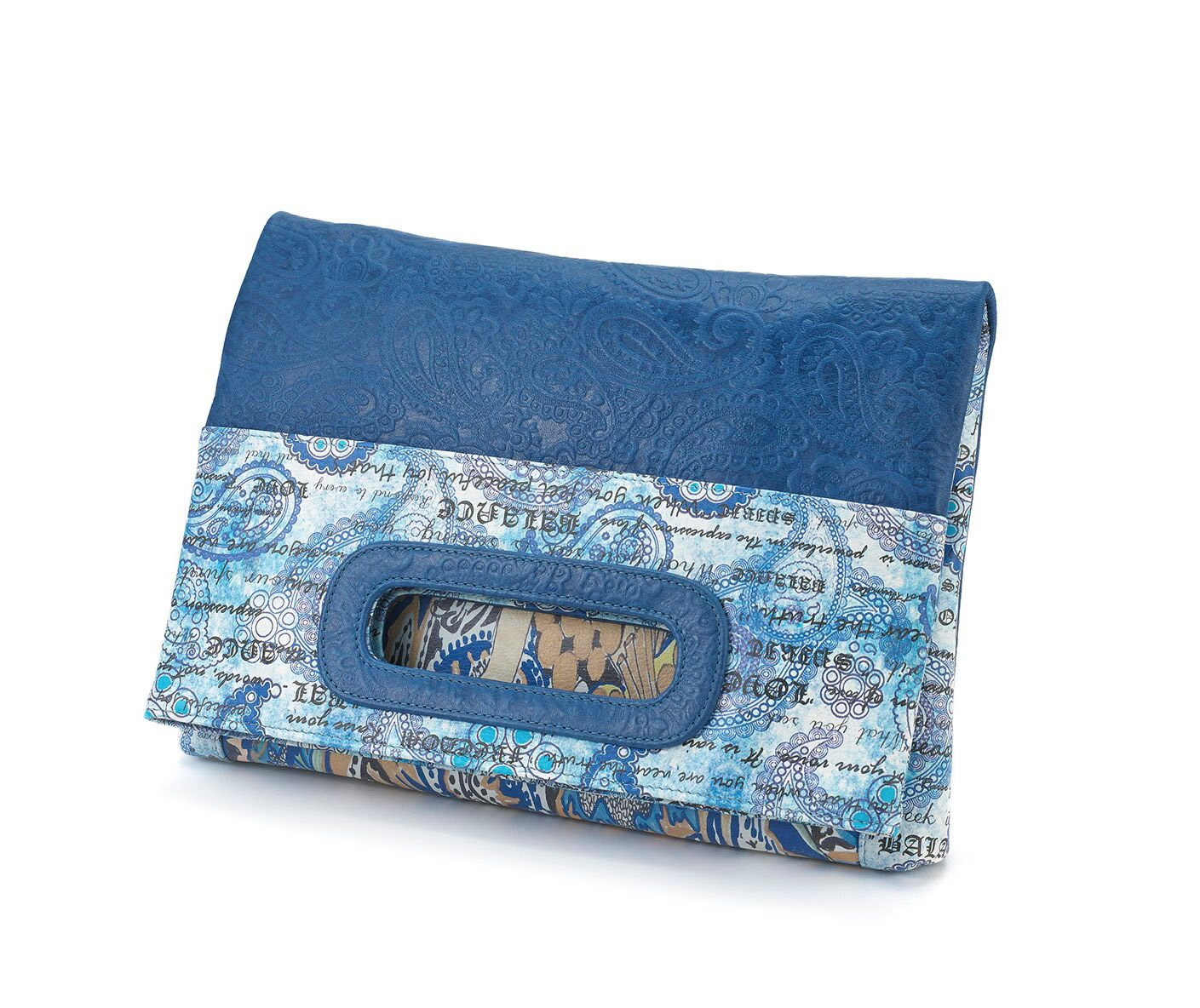 blue paisley leatherMiracles fold-over clutch