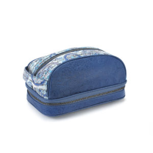 Amenity Blue Embossed Leather & Blue Paisley