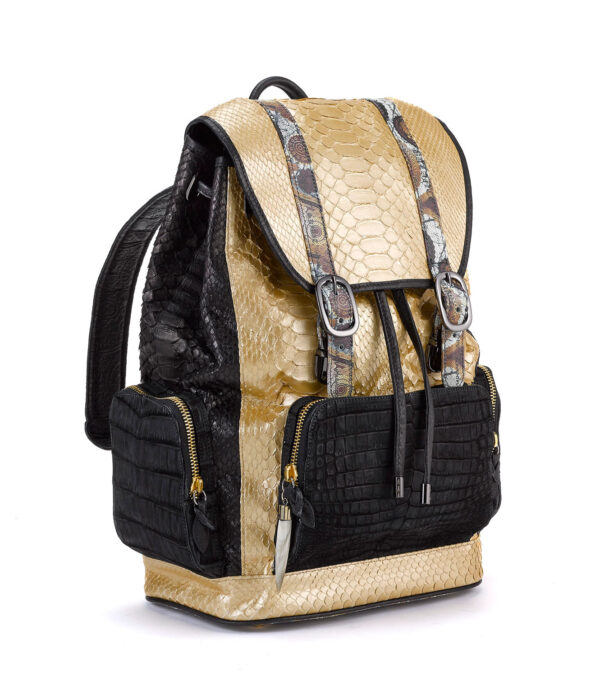 Fingerprint of the Soul Gold Python Black Side Backpack with Croco Pockets