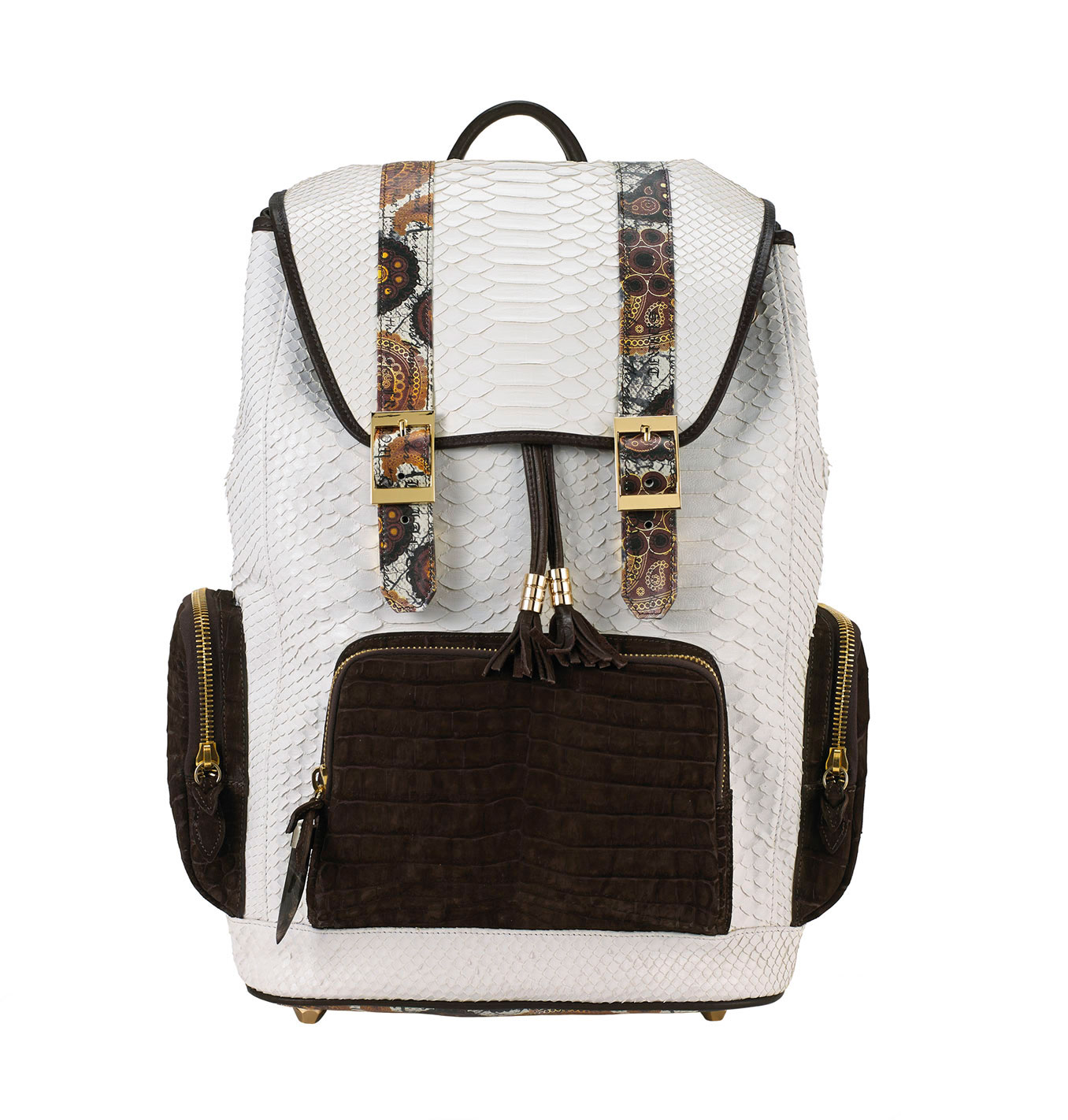 Fingerprint of the Soul White Python Backpack with Croco Pockets