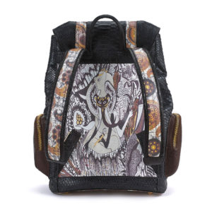 Ganesh Black Python with Brown Leather Pockets