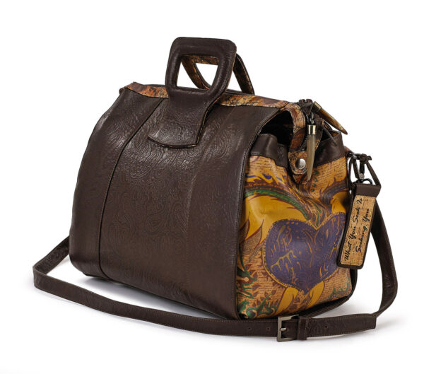 Love & Hope 15″ Brown Embossed Duffel Handbag