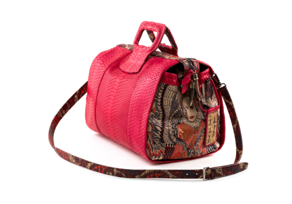 duffel hand bag python design pink