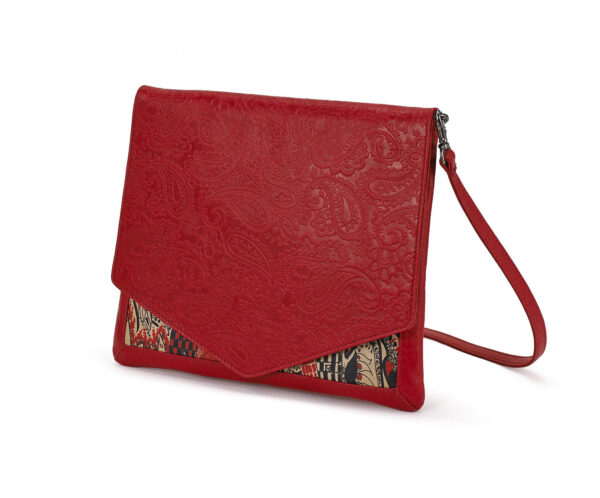 CROSSBODY RED EMBOSSED LADY B 1