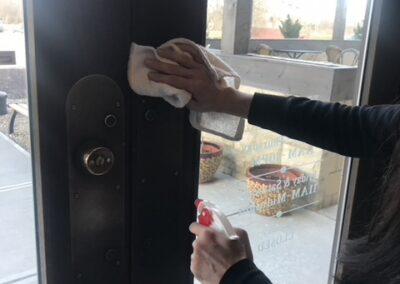 Coronavirus Response - Sanitizing Doors | JoJo Carlonis Restaurant | Berea, OH