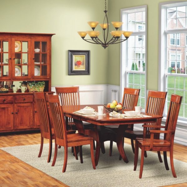 Galveston Daniels Amish table with Carleton Chairs Daniels Amish Dining Set