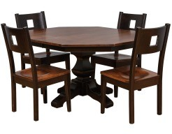 Kingsdale Single Pedestal Table in Toffee and Abby on Maple with Miami