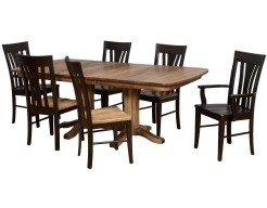 Millsdale Double Pedestal Table in Sandalwood on Distressed Maple with Tulip Back Chairs (Sandalwood/Ebony)
