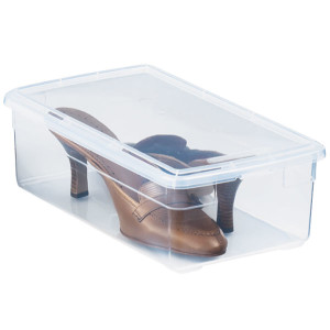 The Container Store Women's Shoe Box Let's Get Organized- Master Bedroom Closet | JessicaFawn.com