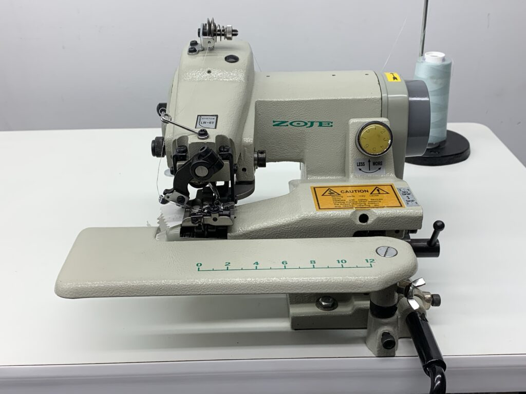 """Portable Blind Stitch Sewing Machine with 30"""" x 20"""" White Formica Table Top Stand & 110 Volt Servo Motor"""