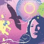 Female and bird in grunge design