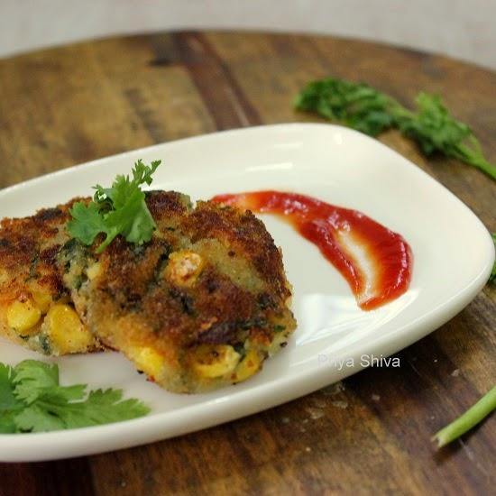 Spinach cutlet, Corn cutlet, cutlet recipe