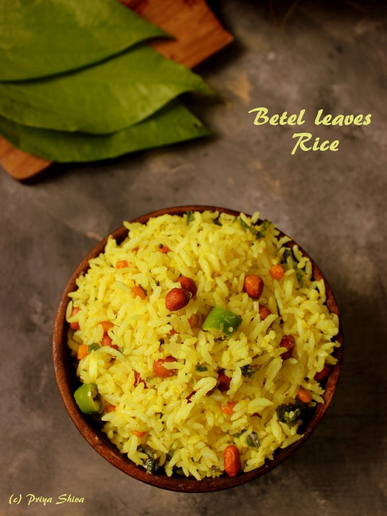 betel leaves rice, vethalai sadam