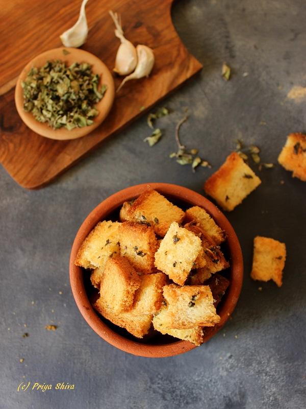 garlic-oregano-baked-croutons-recipe