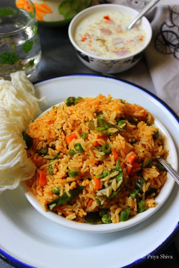Avakai Oorugai Sadam - Pickled Vegetable Rice
