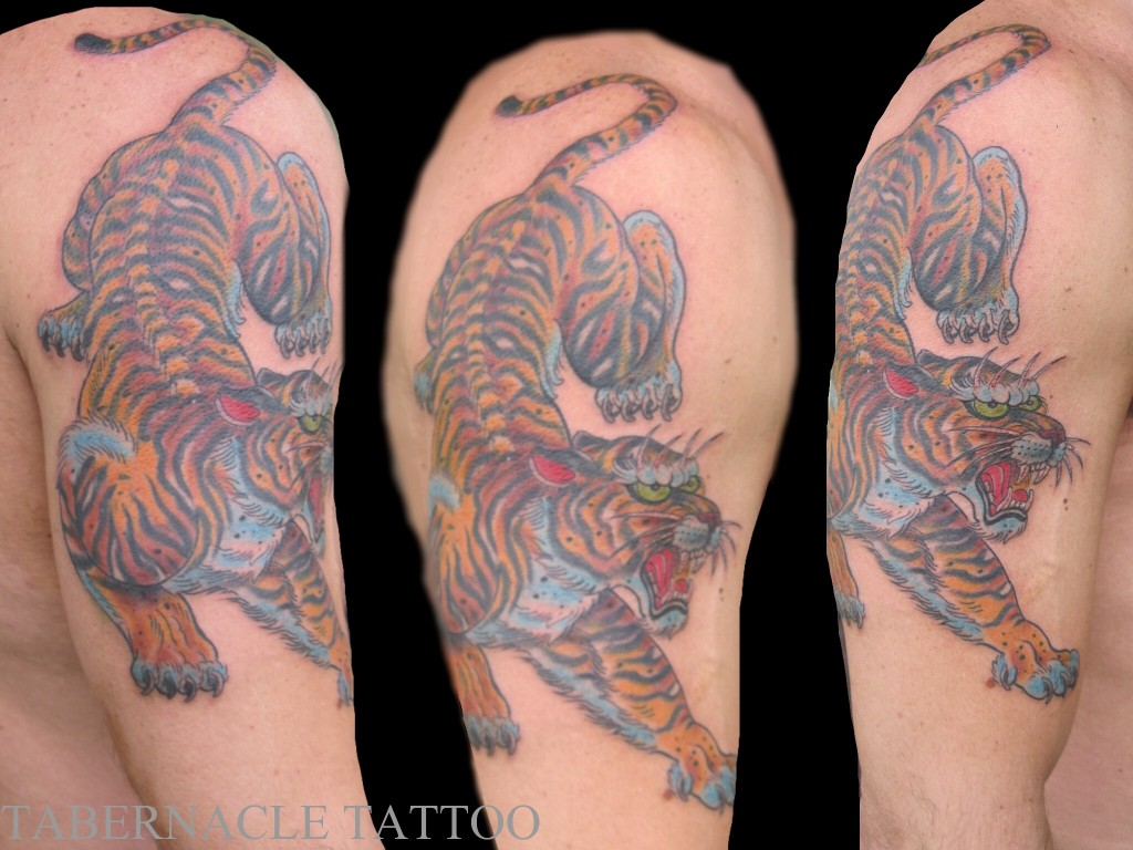 Tiger half sleeve tattoo