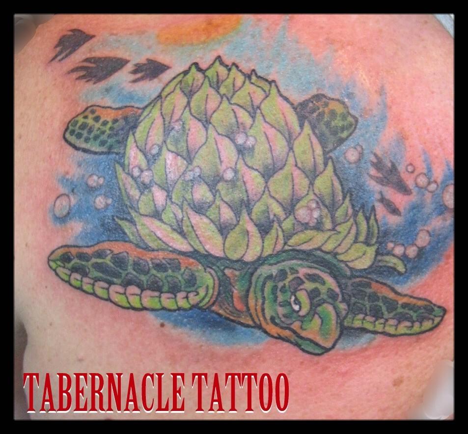 Hops tattoo of turtle sea life tattoo