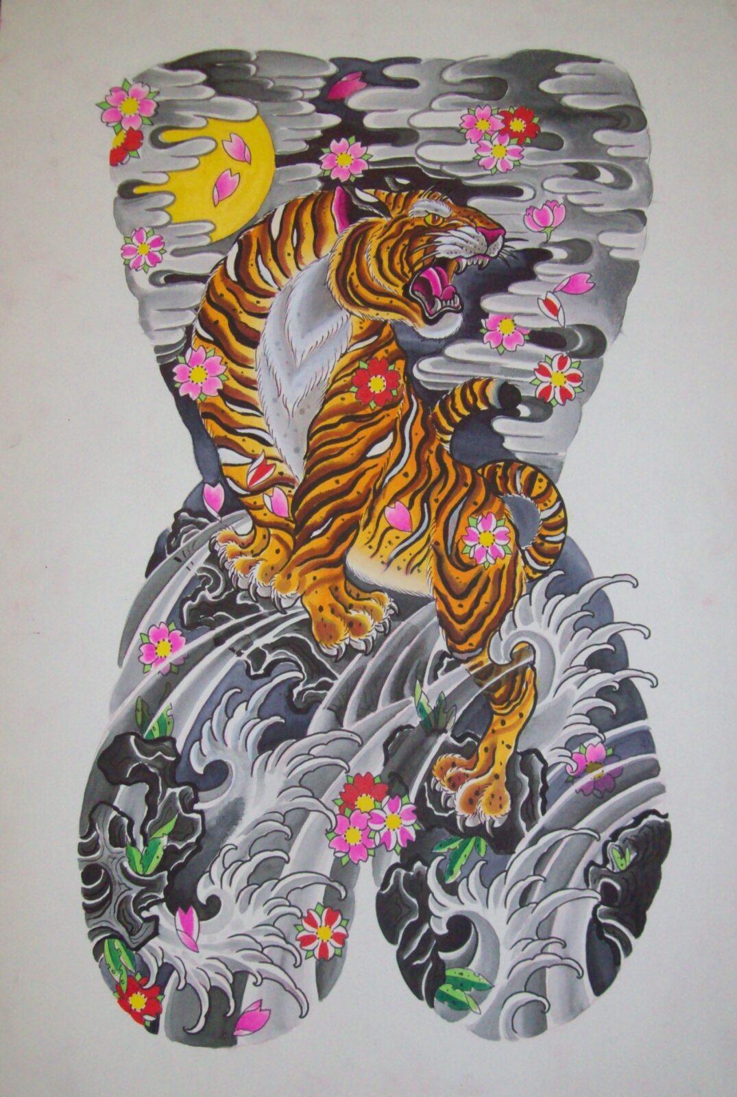Tiger back piece tattoo