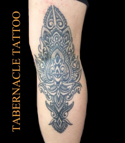 Stipple dot work tattoo for woman